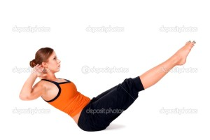 Woman Practicing Boat Pose Yoga Exercise