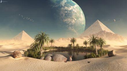 oase, wuste, pyramiden, mond, see 160298